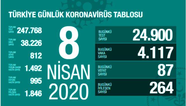 Türkiye'de koronavirüsten ölenlerin sayısı 87